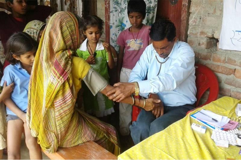 Health checkup camp at village Lakshminia, Bihar