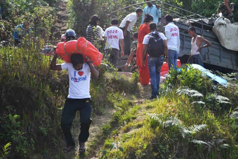 Rigorous rescue and relief work in nine villages of Sindhuli district Nepal by Divya Jyoti Jagrati Sansthan