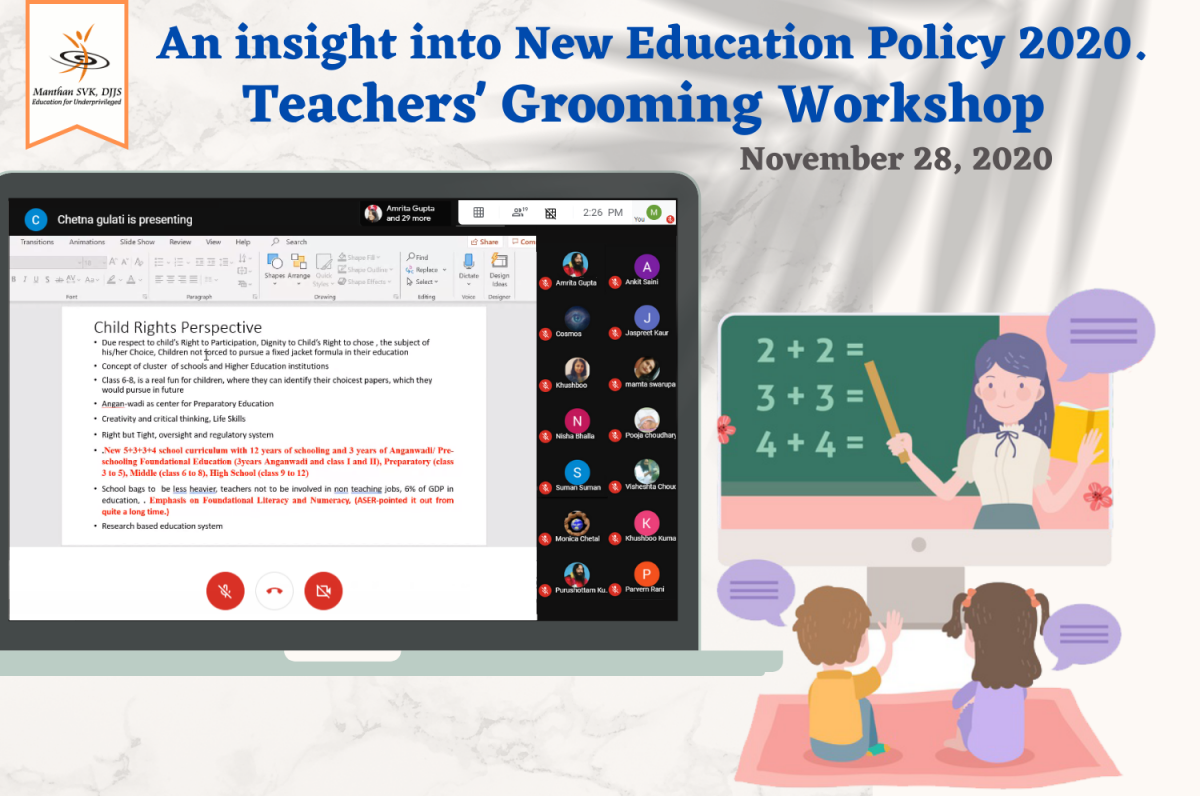 Webinar on National Education Policy(NEP) 2020 Organised by Manthan SVK, DJJS